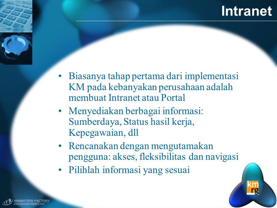 Intranet Biasanya tahap pertama dari implementasi KM pada kebanyakan perusahaan adalah membuat Intranet atau Portal.