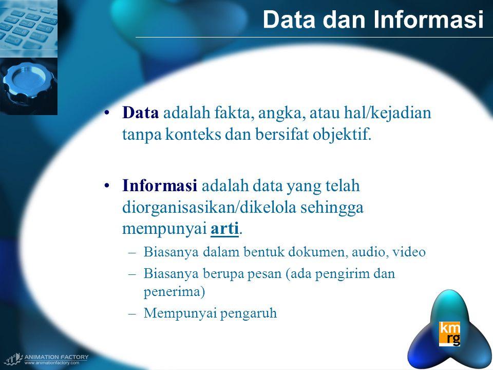 Data dan Informasi Data adalah fakta, angka, atau hal/kejadian tanpa konteks dan bersifat objektif.