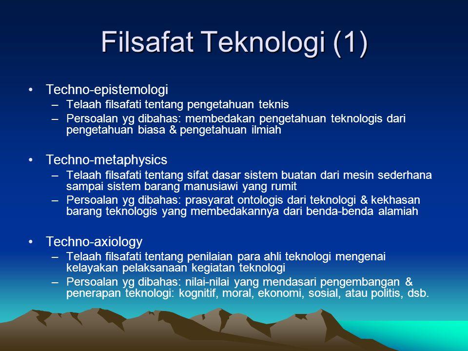 Filsafat Teknologi (1) Techno-epistemologi Techno-metaphysics