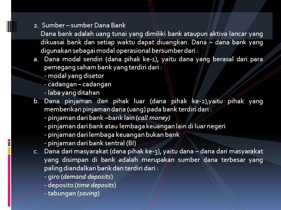 2. Sumber – sumber Dana Bank