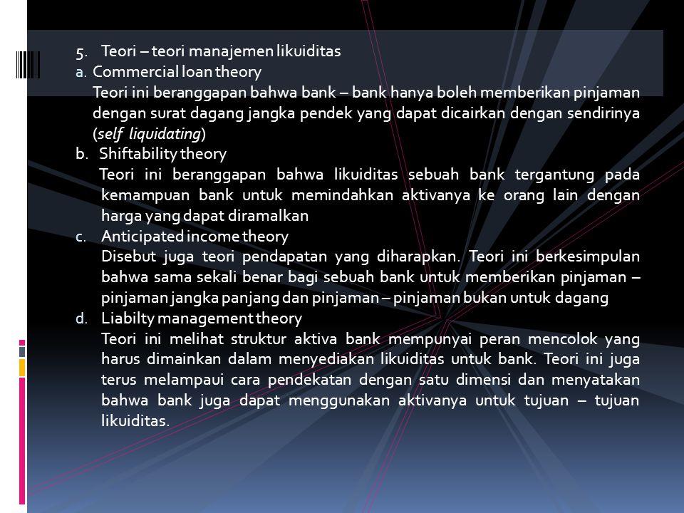 5. Teori – teori manajemen likuiditas