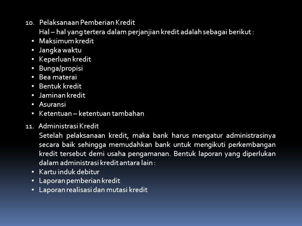 10. Pelaksanaan Pemberian Kredit