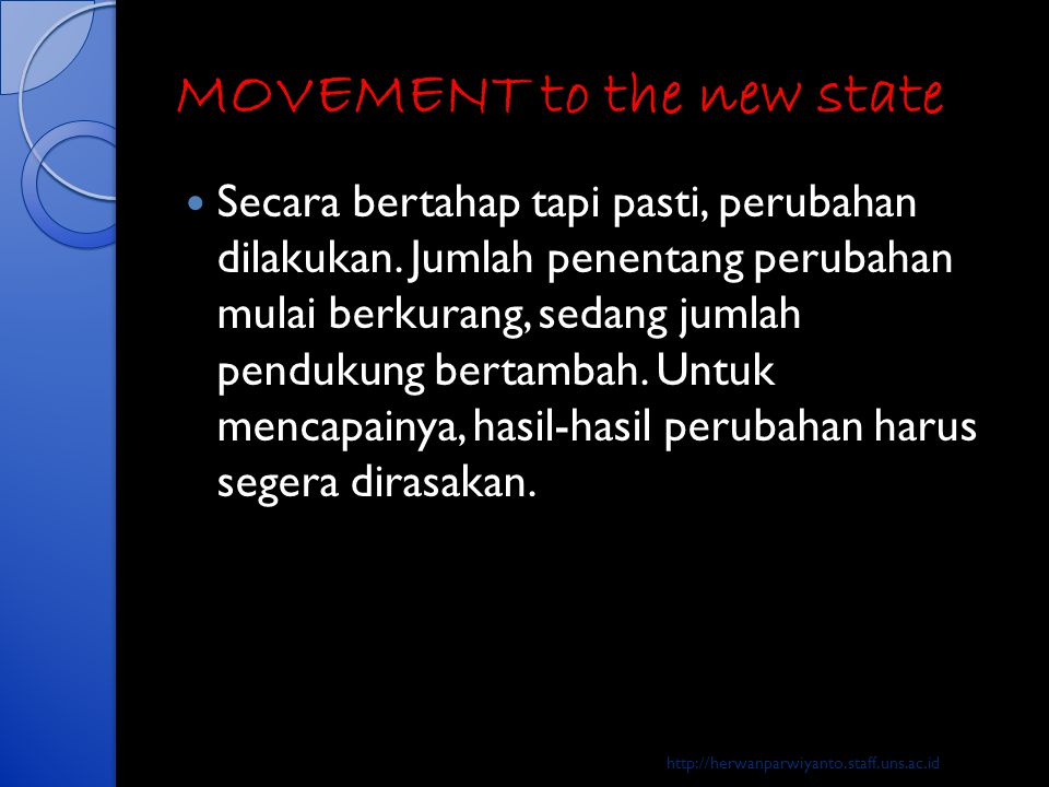 MOVEMENT to the new state