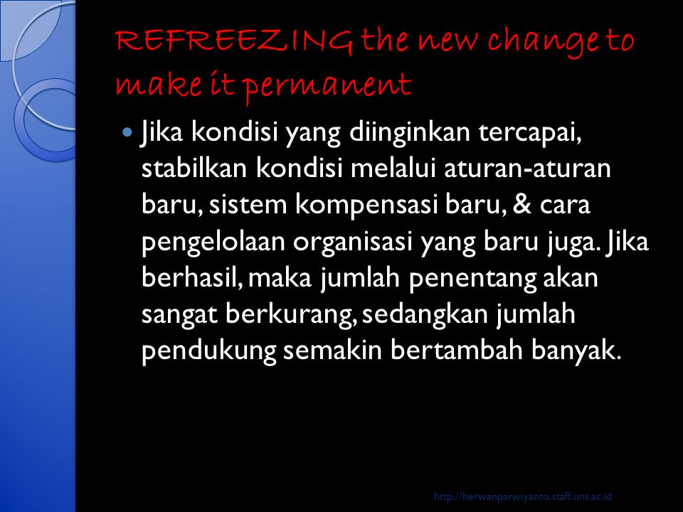 REFREEZING the new change to make it permanent