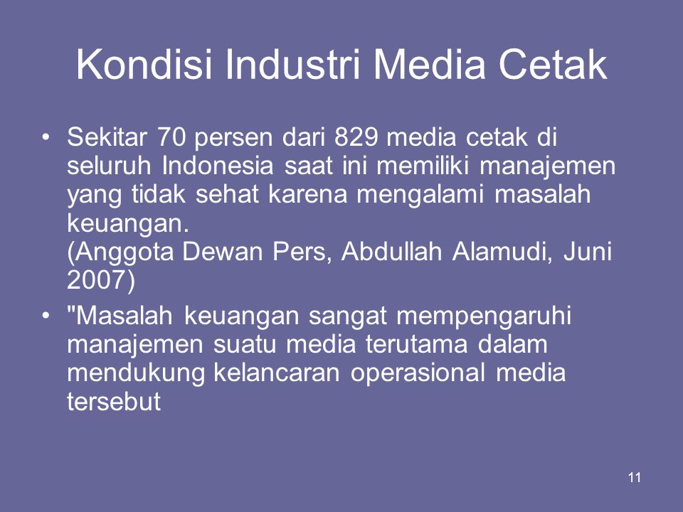 Kondisi Industri Media Cetak