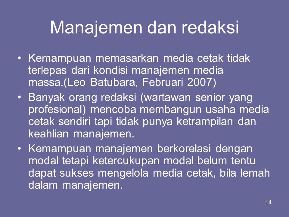 Manajemen dan redaksi Kemampuan memasarkan media cetak tidak terlepas dari kondisi manajemen media massa.(Leo Batubara, Februari 2007)