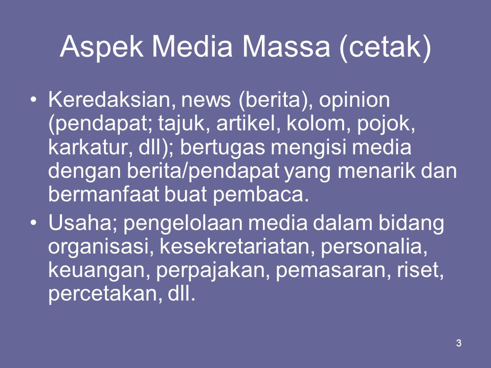 Aspek Media Massa (cetak)