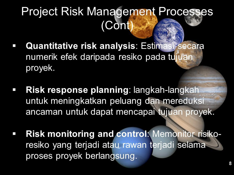 Project Risk Management Processes (Cont)