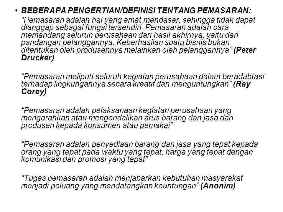 BEBERAPA PENGERTIAN/DEFINISI TENTANG PEMASARAN: