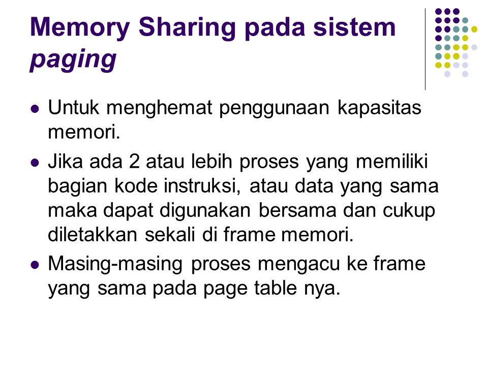 Memory Sharing pada sistem paging