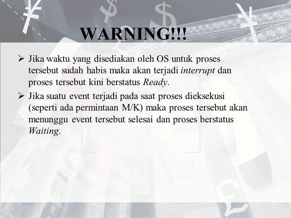 WARNING!!! Jika waktu yang disediakan oleh OS untuk proses tersebut sudah habis maka akan terjadi interrupt dan proses tersebut kini berstatus Ready.