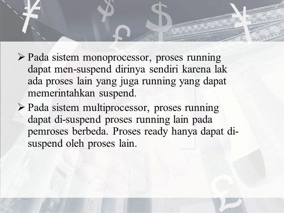 Pada sistem monoprocessor, proses running dapat men-suspend dirinya sendiri karena lak ada proses lain yang juga running yang dapat memerintahkan suspend.