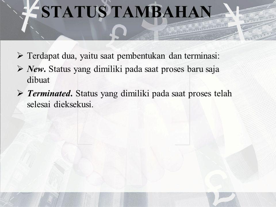 STATUS TAMBAHAN Terdapat dua, yaitu saat pembentukan dan terminasi:
