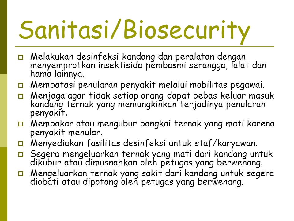 Sanitasi/Biosecurity