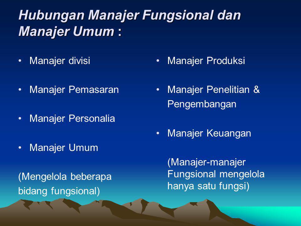 Hubungan Manajer Fungsional dan Manajer Umum :