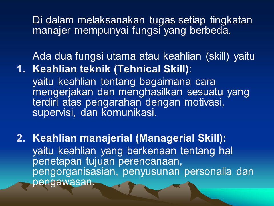 Di dalam melaksanakan tugas setiap tingkatan manajer mempunyai fungsi yang berbeda.