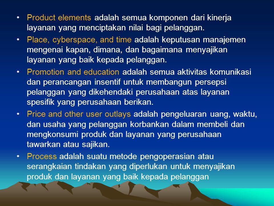Product elements adalah semua komponen dari kinerja layanan yang menciptakan nilai bagi pelanggan.
