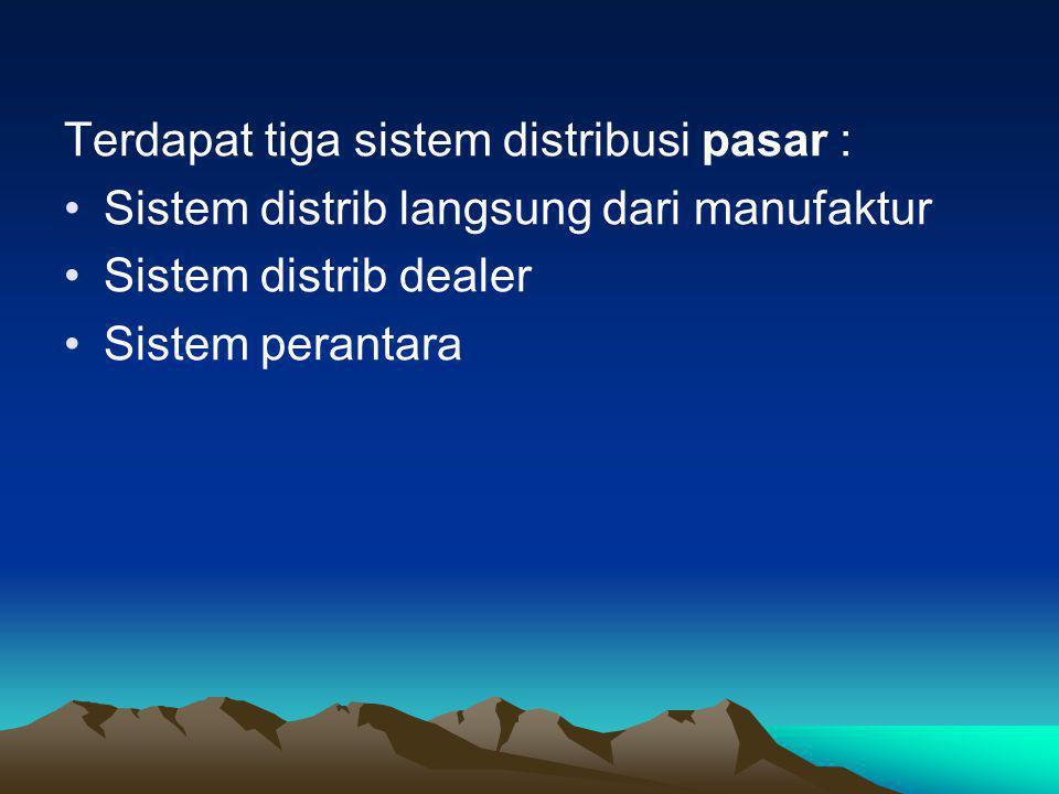Terdapat tiga sistem distribusi pasar :