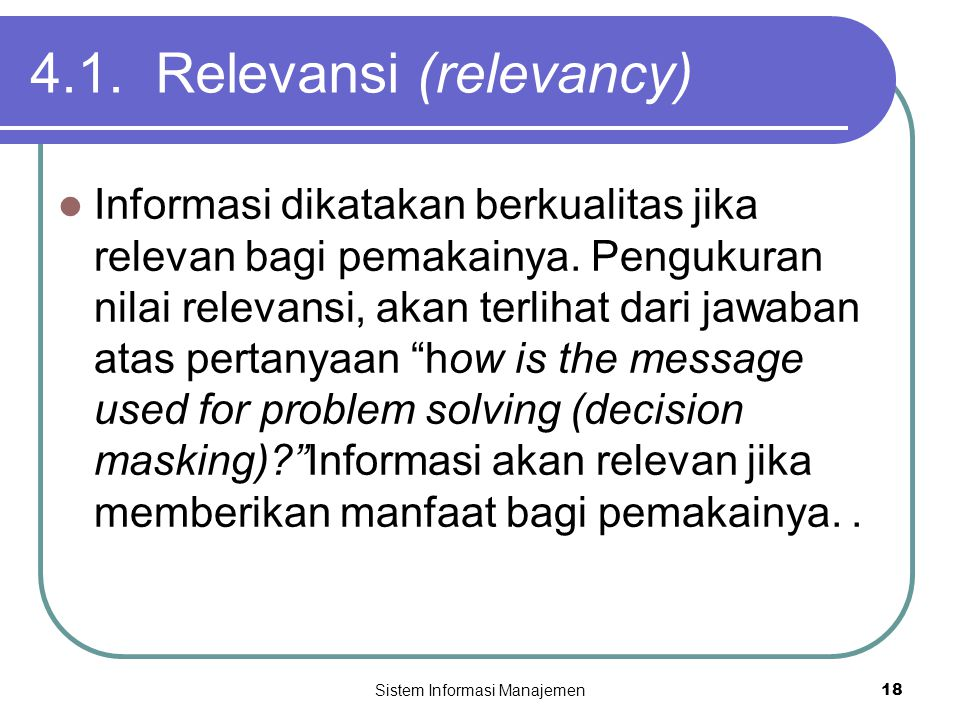4.1. Relevansi (relevancy)