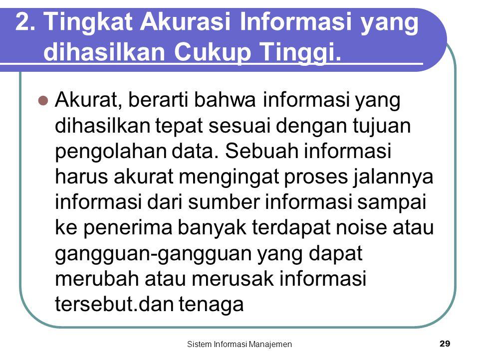 2. Tingkat Akurasi Informasi yang dihasilkan Cukup Tinggi.