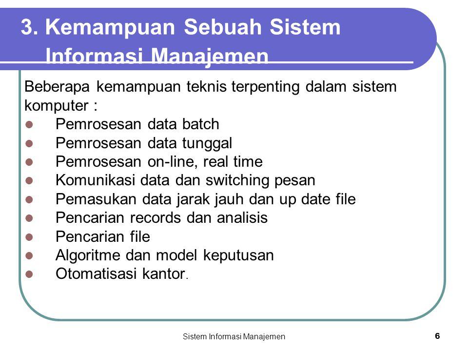 3. Kemampuan Sebuah Sistem Informasi Manajemen