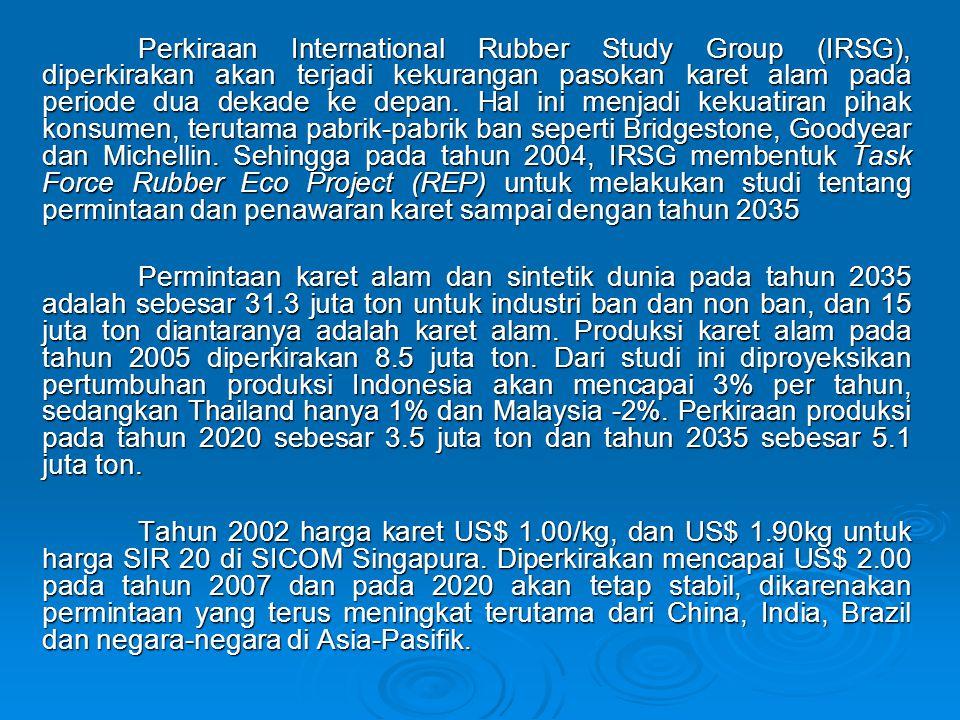 Perkiraan International Rubber Study Group (IRSG), diperkirakan akan terjadi kekurangan pasokan karet alam pada periode dua dekade ke depan. Hal ini menjadi kekuatiran pihak konsumen, terutama pabrik-pabrik ban seperti Bridgestone, Goodyear dan Michellin. Sehingga pada tahun 2004, IRSG membentuk Task Force Rubber Eco Project (REP) untuk melakukan studi tentang permintaan dan penawaran karet sampai dengan tahun 2035
