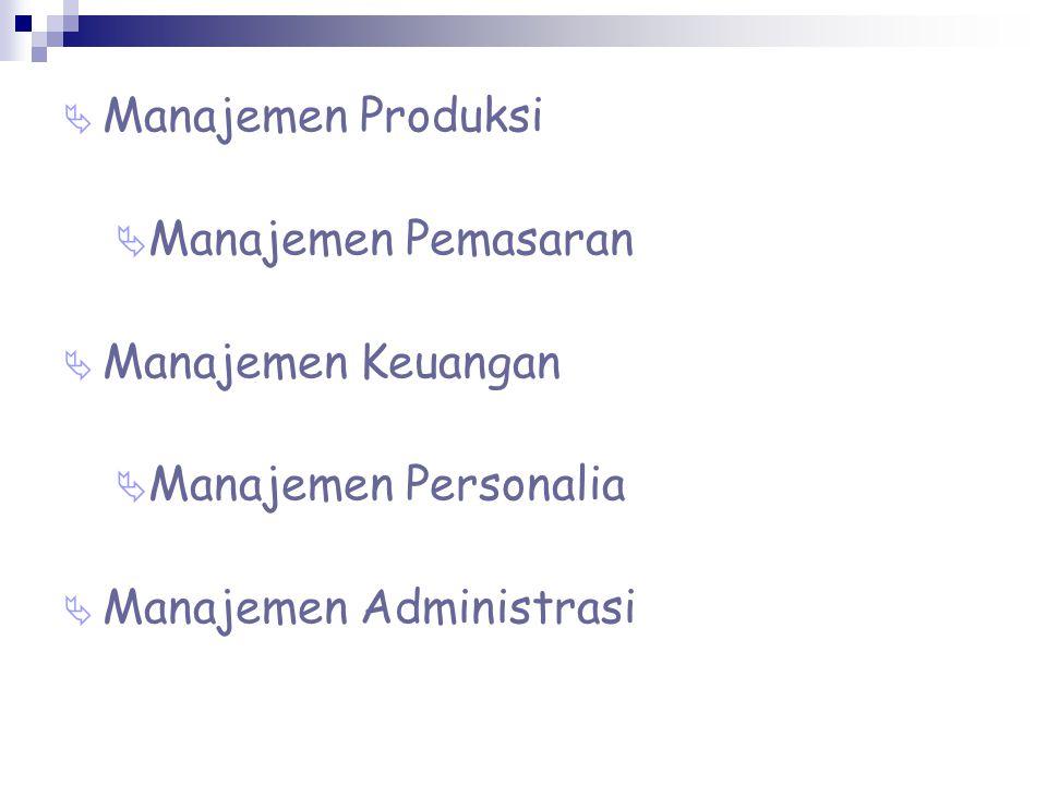 Manajemen Produksi Manajemen Pemasaran. Manajemen Keuangan.