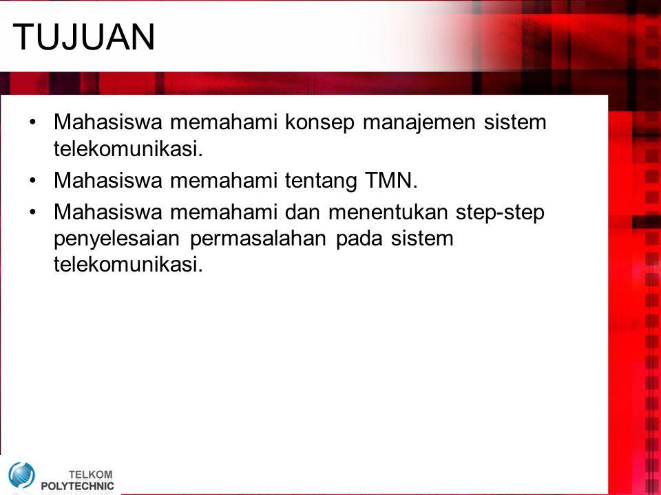 TUJUAN Mahasiswa memahami konsep manajemen sistem telekomunikasi.