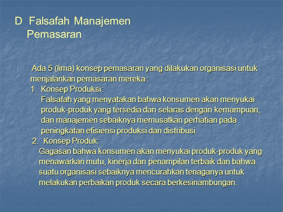 D Falsafah Manajemen Pemasaran