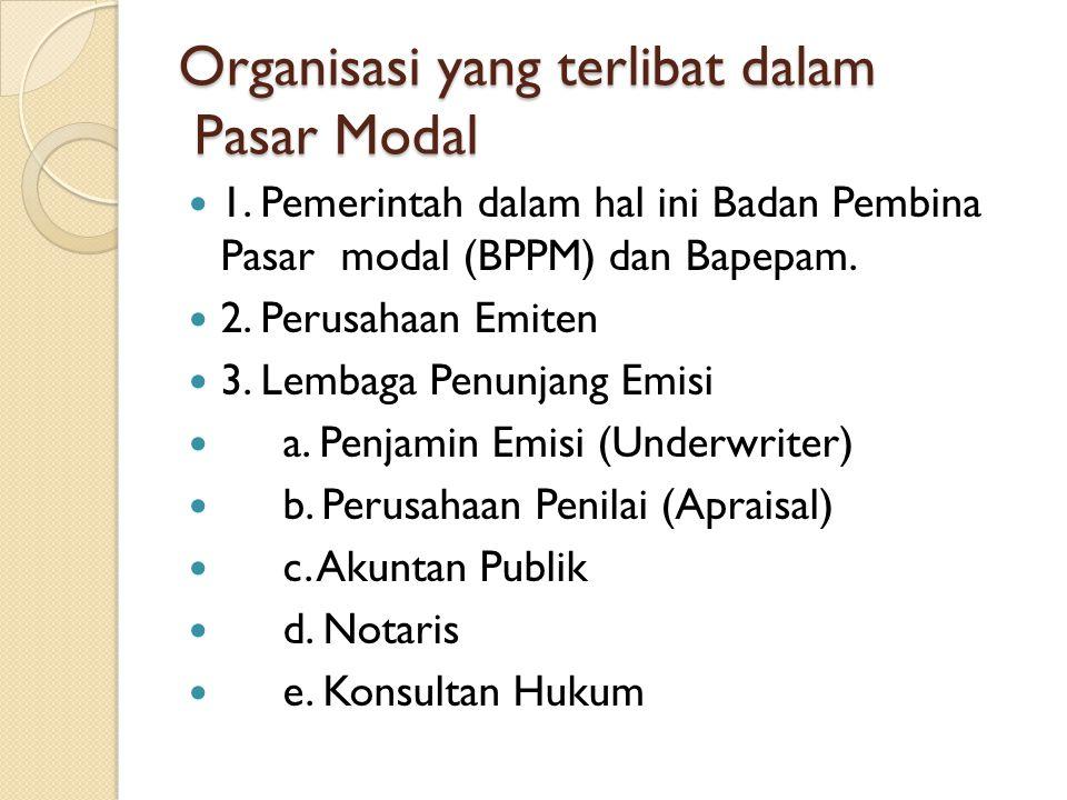 Organisasi yang terlibat dalam Pasar Modal