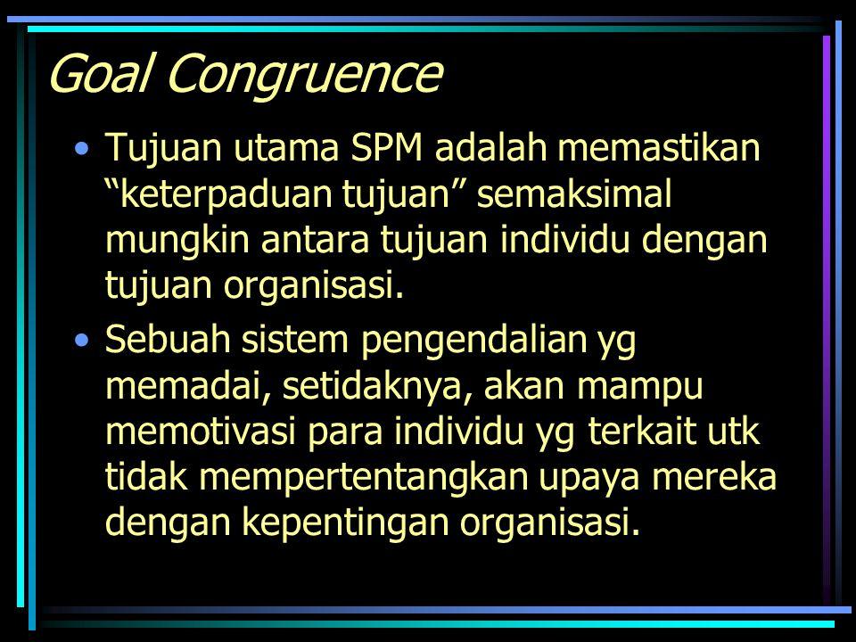 Goal Congruence Tujuan utama SPM adalah memastikan keterpaduan tujuan semaksimal mungkin antara tujuan individu dengan tujuan organisasi.