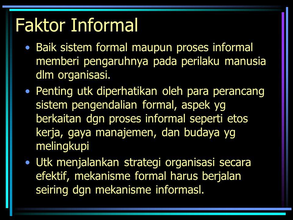 Faktor Informal Baik sistem formal maupun proses informal memberi pengaruhnya pada perilaku manusia dlm organisasi.