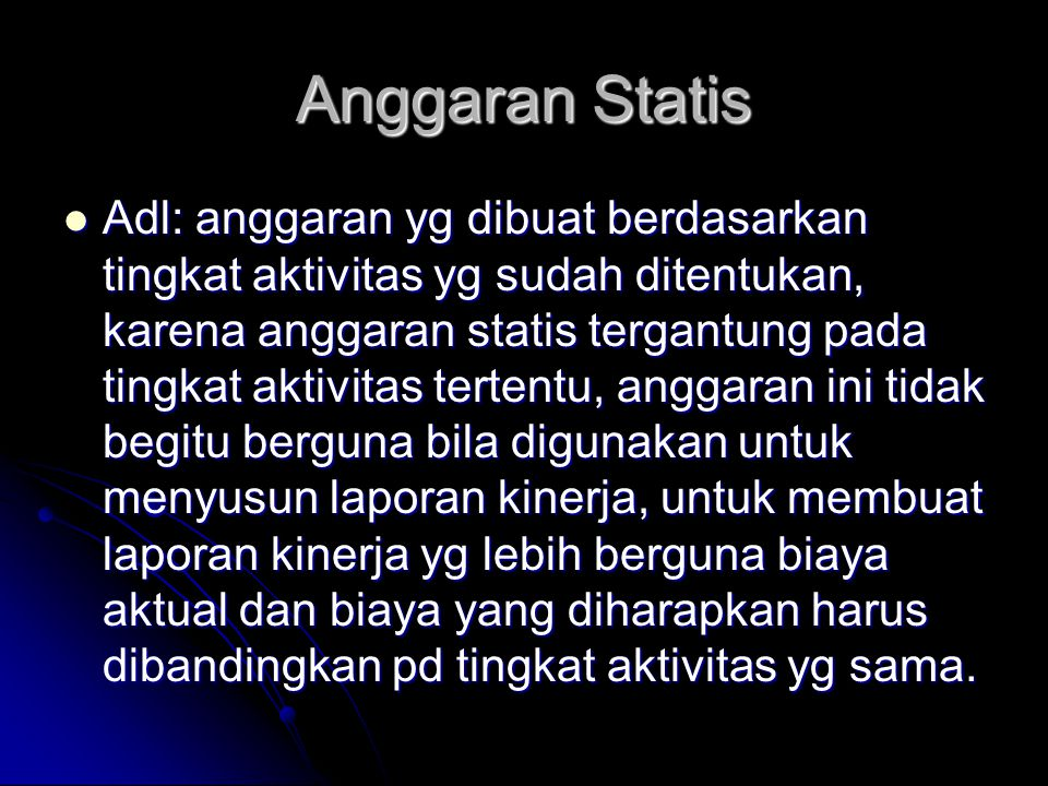 Anggaran Statis