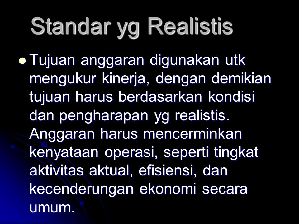 Standar yg Realistis