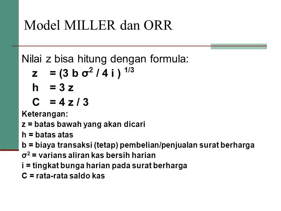 Model MILLER dan ORR Nilai z bisa hitung dengan formula: