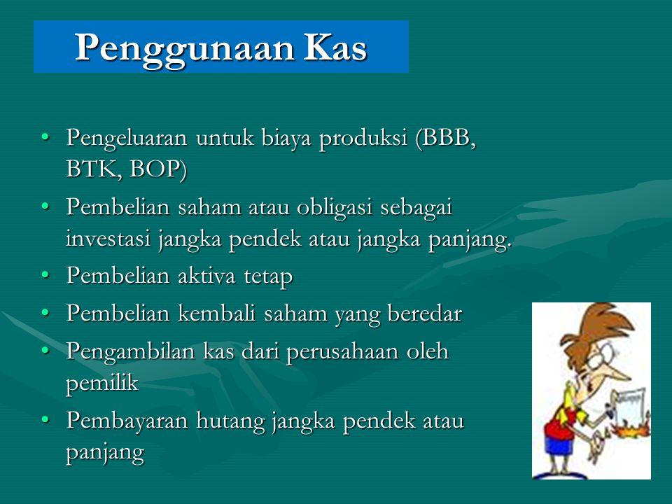 Penggunaan Kas Pengeluaran untuk biaya produksi (BBB, BTK, BOP)