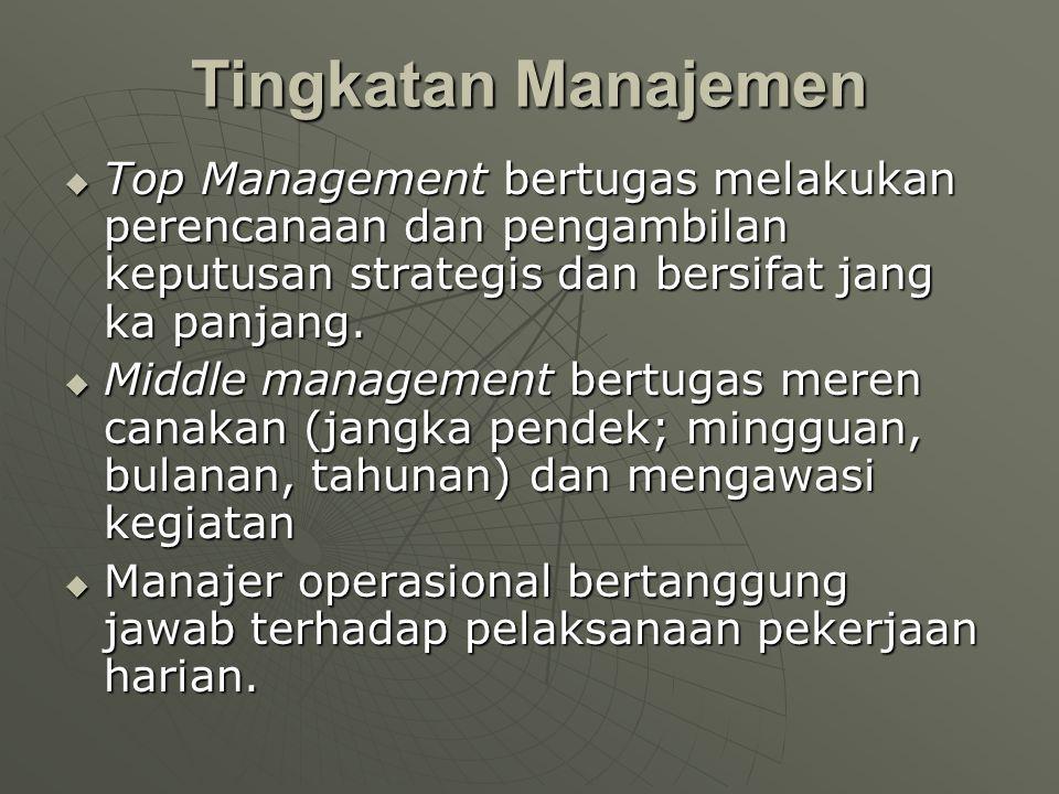 Tingkatan Manajemen Top Management bertugas melakukan perencanaan dan pengambilan keputusan strategis dan bersifat jang ka panjang.