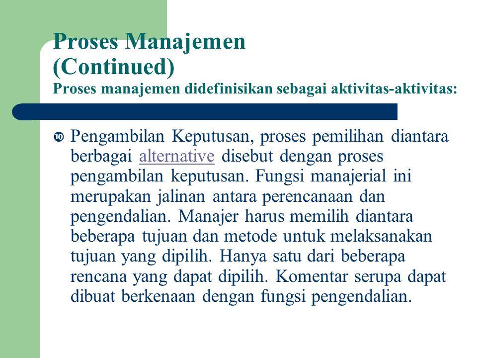 Proses Manajemen (Continued) Proses manajemen didefinisikan sebagai aktivitas-aktivitas:
