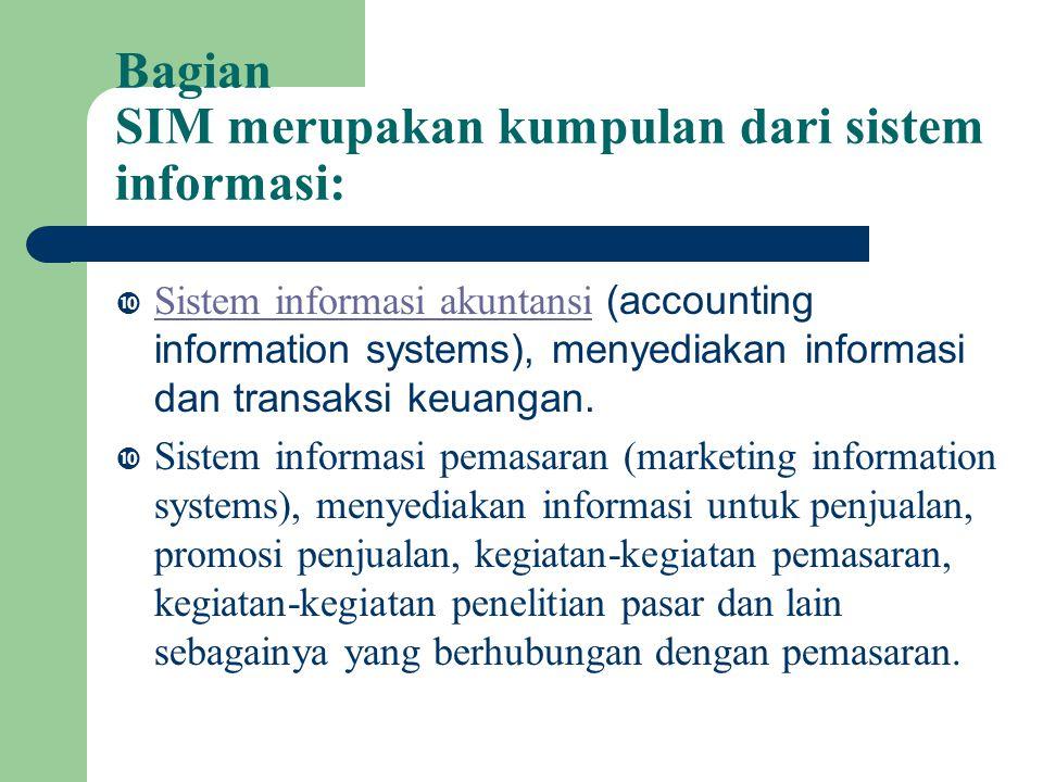 Bagian SIM merupakan kumpulan dari sistem informasi: