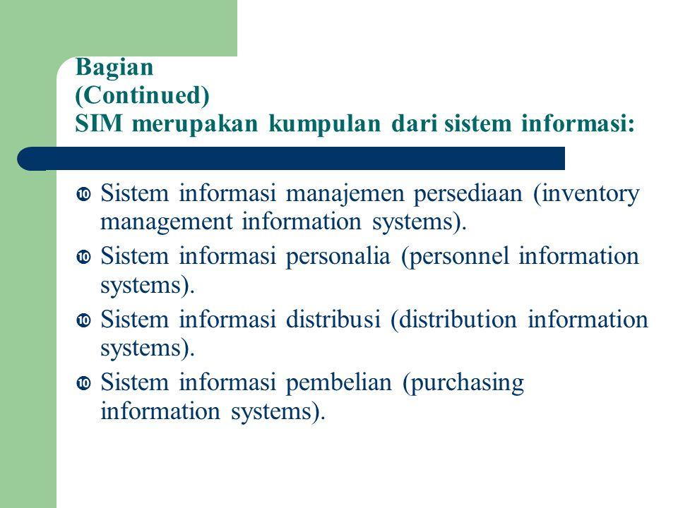 Bagian (Continued) SIM merupakan kumpulan dari sistem informasi: