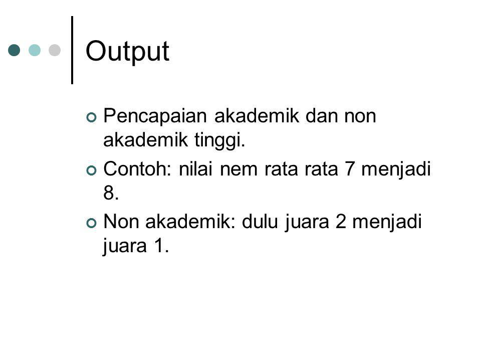 Output Pencapaian akademik dan non akademik tinggi.