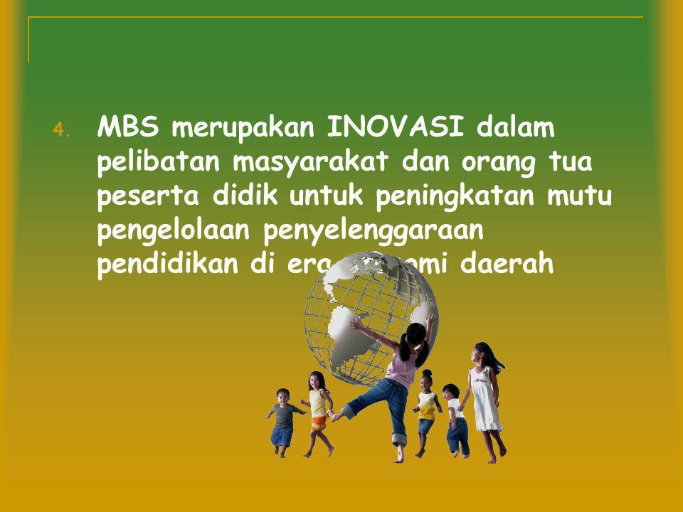 MBS merupakan INOVASI dalam pelibatan masyarakat dan orang tua peserta didik untuk peningkatan mutu pengelolaan penyelenggaraan pendidikan di era otonomi daerah