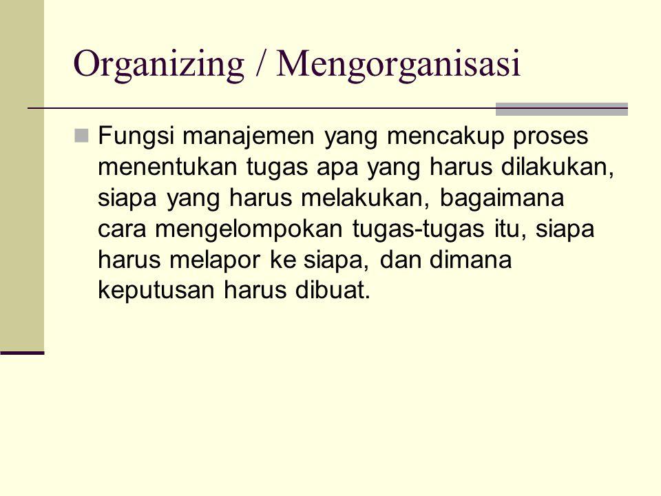 Organizing / Mengorganisasi