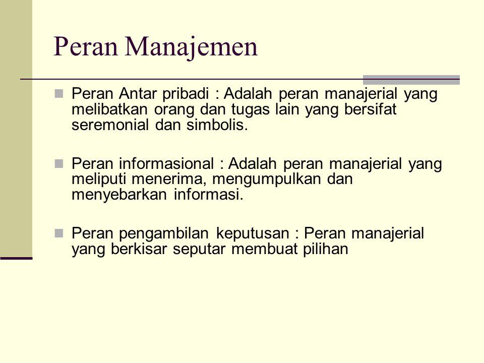 Peran Manajemen Peran Antar pribadi : Adalah peran manajerial yang melibatkan orang dan tugas lain yang bersifat seremonial dan simbolis.