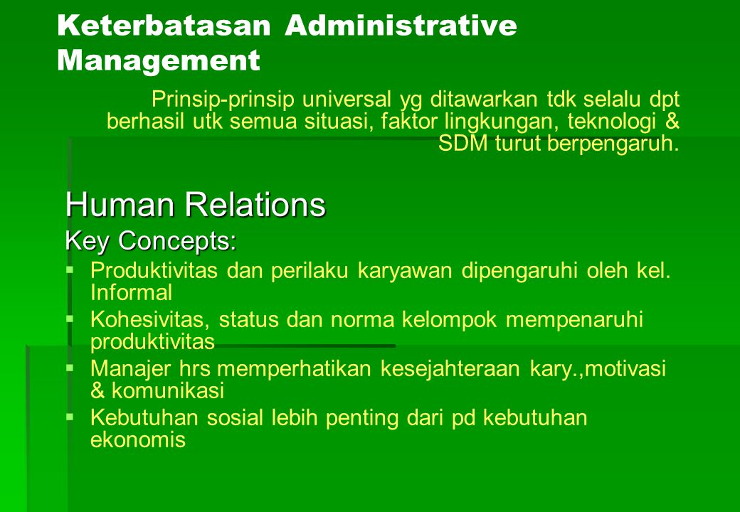 Keterbatasan Administrative Management