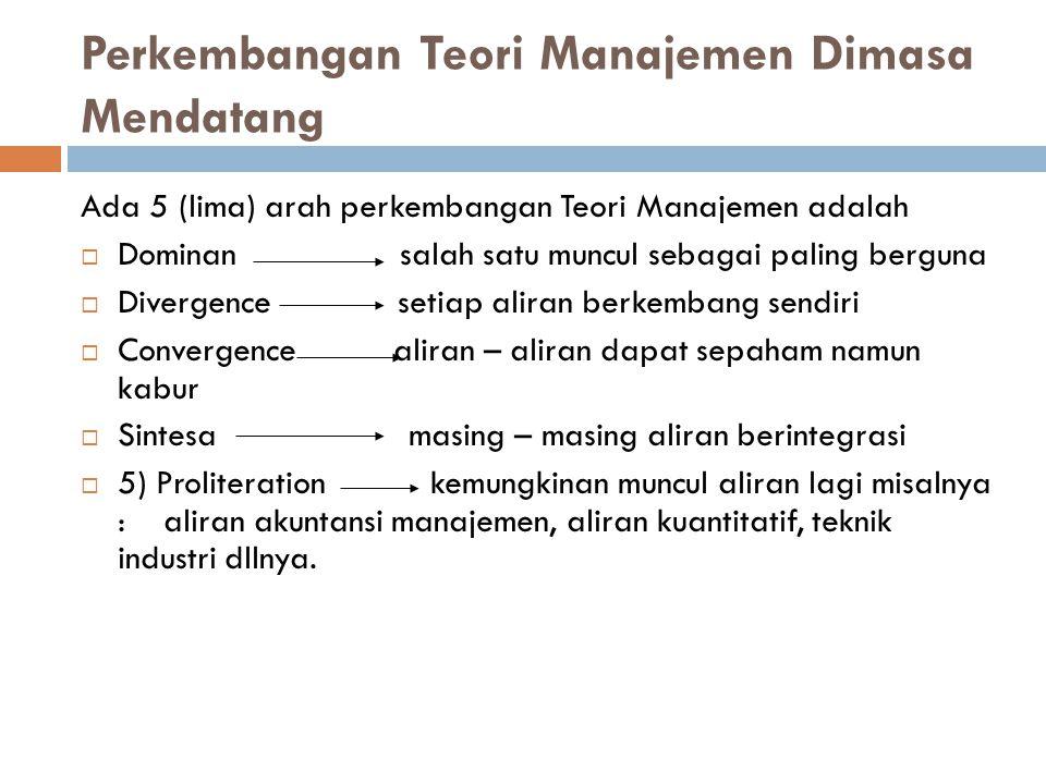 Perkembangan Teori Manajemen Dimasa Mendatang