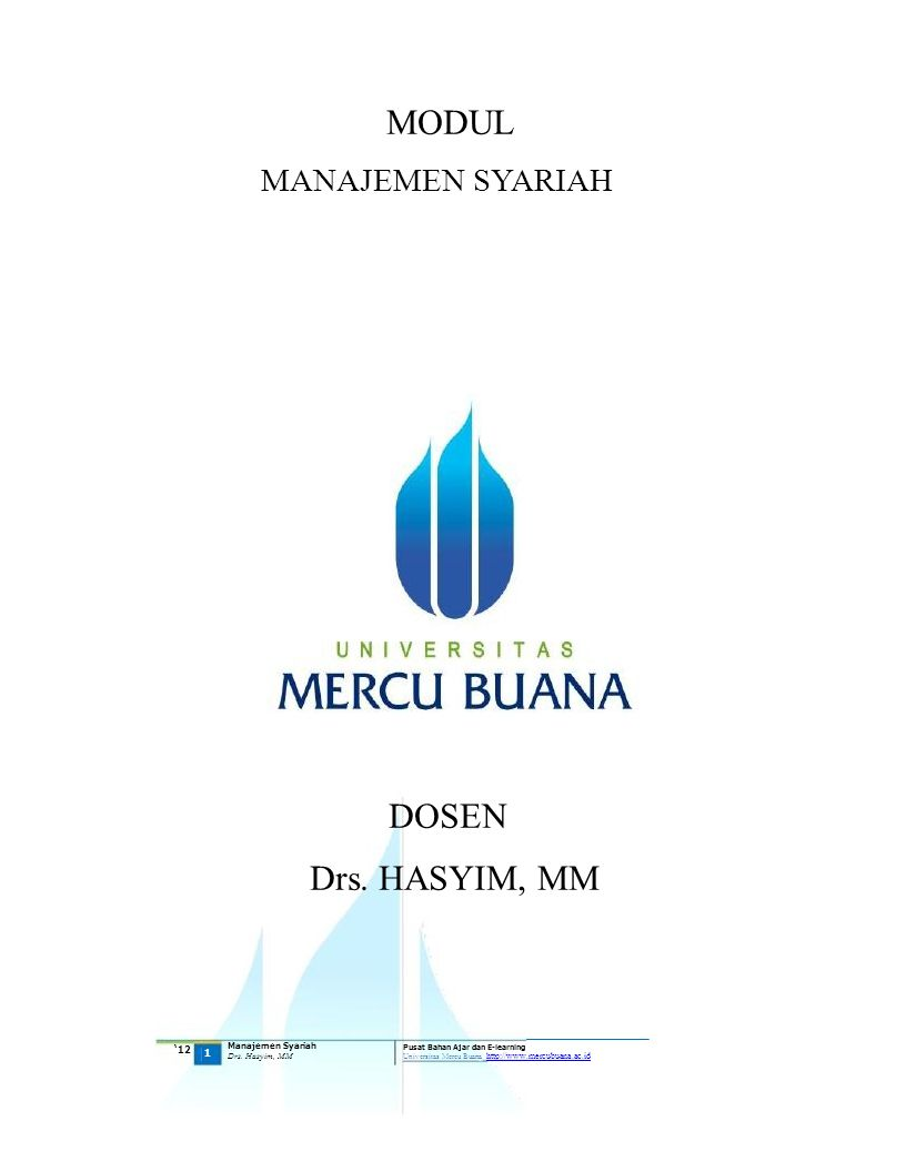 Drs. HASYIM, MM MANAJEMEN SYARIAH DOSEN MODUL '12 Manajemen Syariah 1