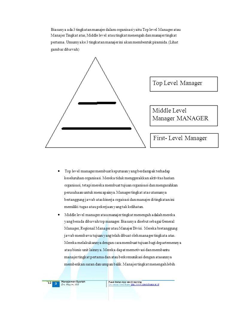 Top level manager membuat keputusan yang berdampak terhadap