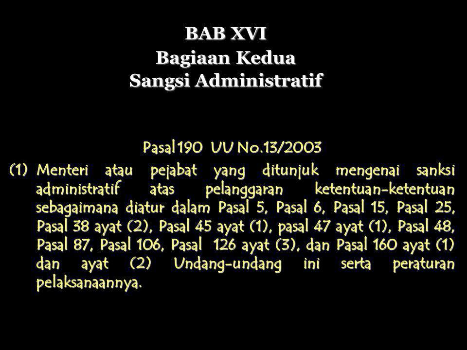 BAB XVI Bagiaan Kedua Sangsi Administratif