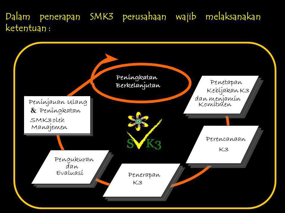 Dalam penerapan SMK3 perusahaan wajib melaksanakan ketentuan :